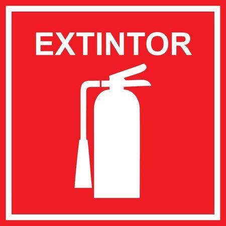 salida de emergencia: Signo de extintor clásico Vectores