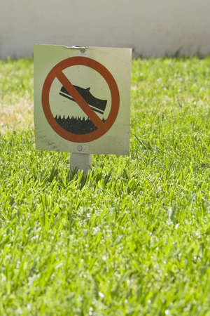 Prohibition sign on grass photo
