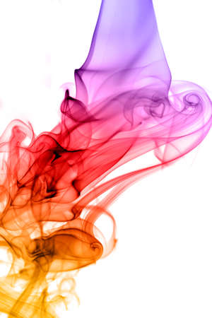 Colorful smoke waterfall on white background photo