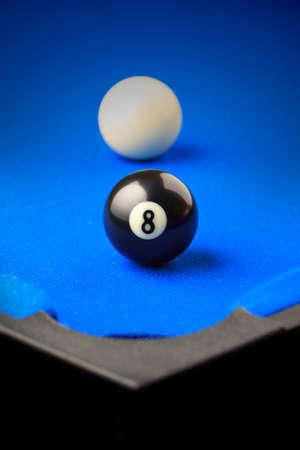 bola ocho: Match ball. Negro bola ocho en el bolsillo.