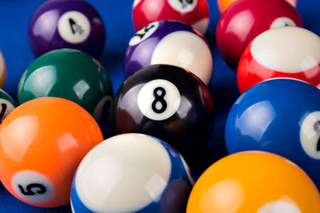 billiard ball: Different points of view billiard balls on a blue pool table. Stock Photo