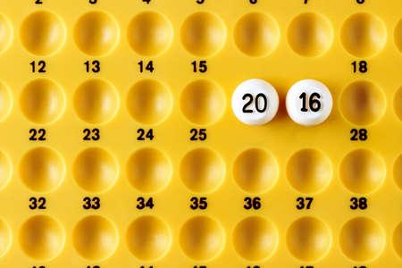 announcing: Balls announcing the upcoming new year. Horizontal image.