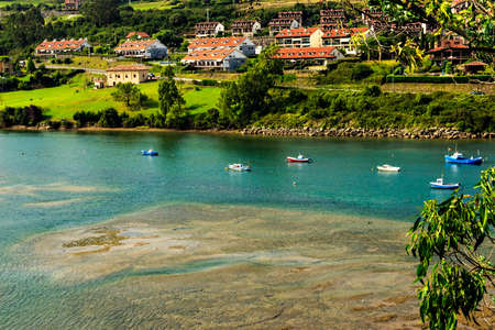 cantabria: Views from the top of the village in San Vicente de la Barquera, Cantabria, Spain.Horizontal image. Stock Photo