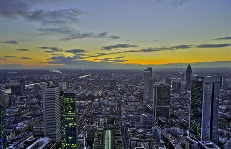 Sunset in Frankfurt, HDR Stock Photo
