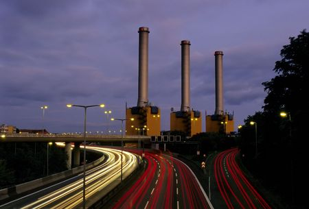 powerstation: Motorway and Powerstation at night Stock Photo