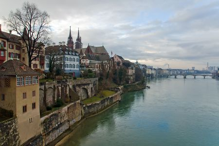 Basel, Switzerland: Panorama of city and Rhine river