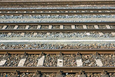 Parallel railroad tracks Stock Photo