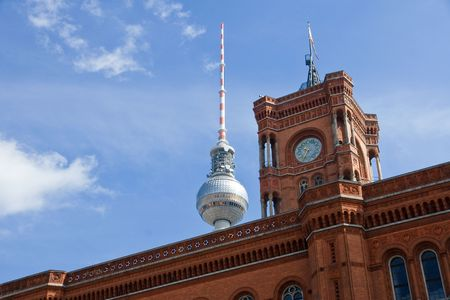 Townhall and television tower in Berlin Imagens - 7488696