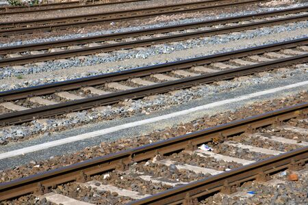 railroad crossing: Some railroad tracks