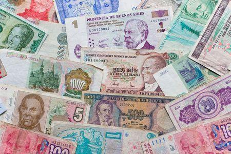 Verschiedene Banknoten der verschiedenen Länder