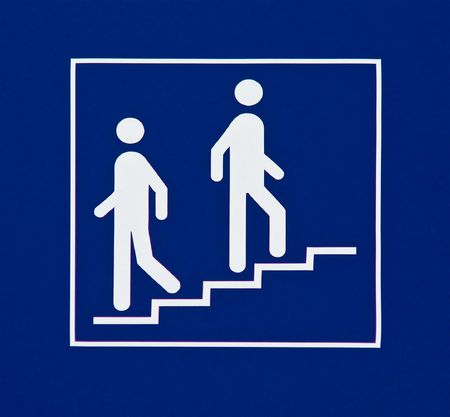 Information sign showing stairs Imagens