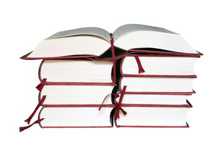 Open book on a stack of books