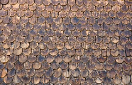 Wall of wooden shingles photo