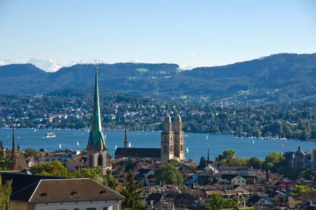 View over Zurich with the alps in the back photo