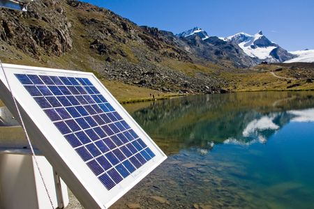 Solar technology in the alps Stock Photo