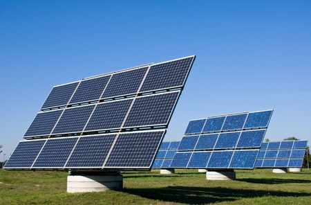Solar energy plants Stock Photo