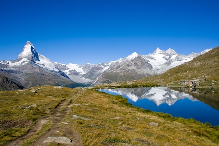 pyramid peak: Matterhorn, Nadelhorn and Stelisee