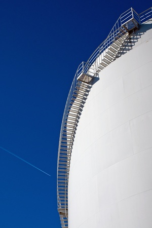 White industrial tank with stairs Stock Photo