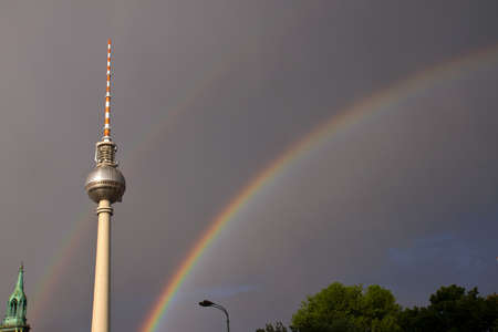 Rainbows and television tower in Berlin photo