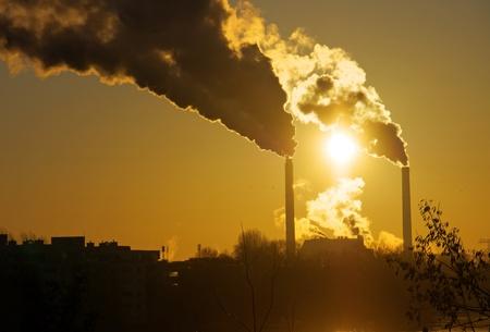 smokestacks: Sunrise and smokestacks Stock Photo