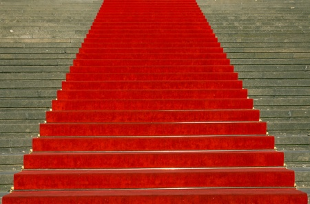 Stairs with red carpet photo