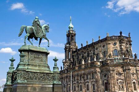 Sculpture and Hofkirche in Dresden