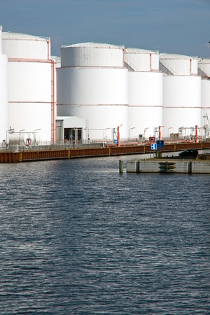 Storage tanks in the harbour photo