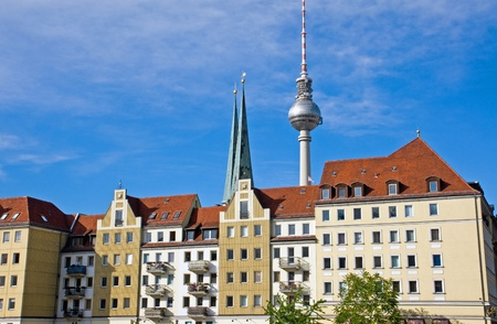 The Nikolaiviertel with the famous TV-tower in Berlin photo
