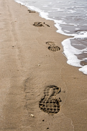 Shoeprints in the sand at the beach