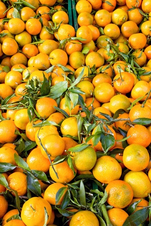 Fresh clementines with green leaves on a market Stock Photo - 12624580