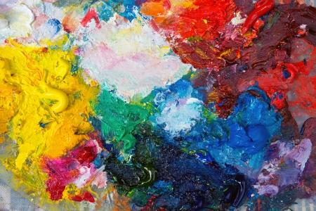 creativity artist: Paleta con pintura de aceite Foto de archivo