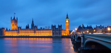 The Houses of Parliament after sunset photo