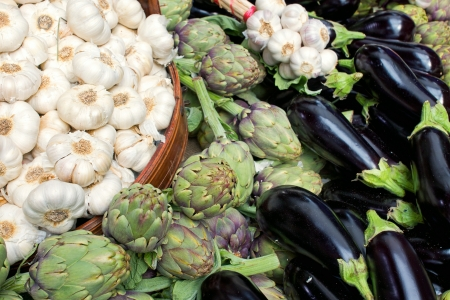 Garlic, artichokes and aubergines Stock Photo - 14588181