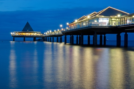 reprimanding: A pier on Usedom island after sunset