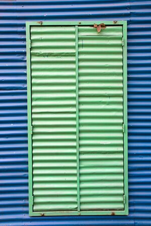 la boca: Window with shutters in La Boca Stock Photo