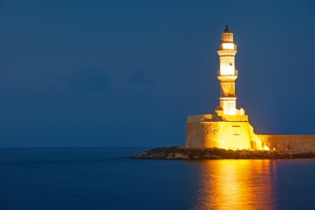 The lighthouse of Chania at night photo