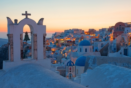 Oia after sunset Imagens