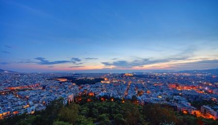 Athens nach Sonnenuntergang Standard-Bild