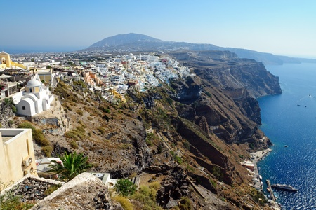 thera: A view over Fira on Santorini island, Greece