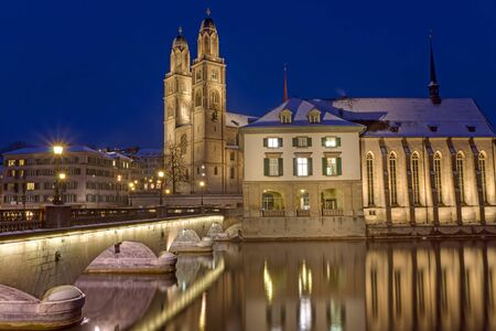 The river and the Minster in Zurich photo