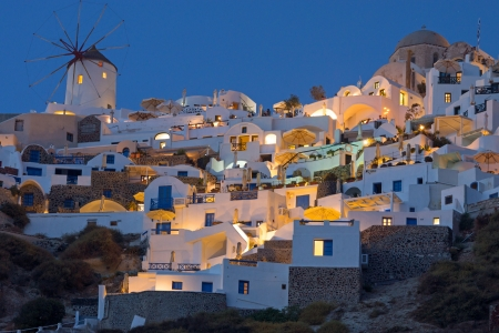 Part of Oia at night Stock Photo