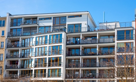 gentrification: Modern apartment house in Berlin