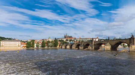 Panorama of Charles Bridge and Prague Castle photo