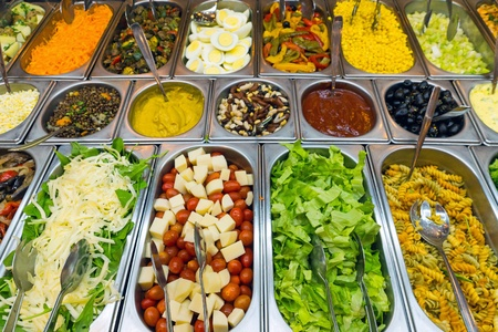 the corn salad: A variety of salads at a buffet Stock Photo