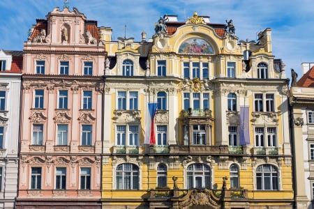 Restored historic buildings seen in Prague Imagens - 21685921