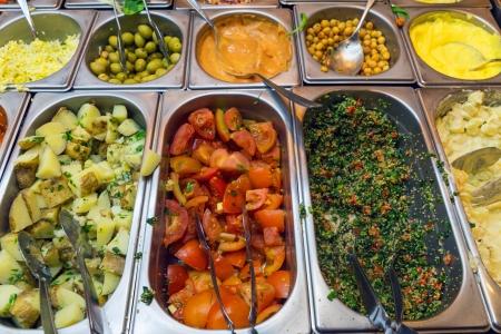 Colourful salad buffet Imagens