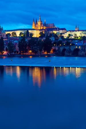 The castle and river Vltava in Prague, Czech Republic photo