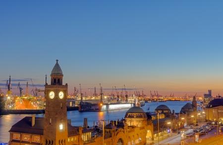 hamburg: Hamburg harbor after sunset Stock Photo