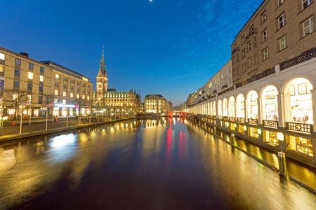 The townhall and the Alsterfleet in Hamburg at night