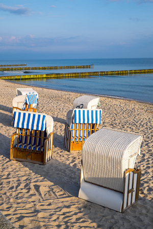 reprimanding: Beach chairs seen at the Baltic Sea in Germany